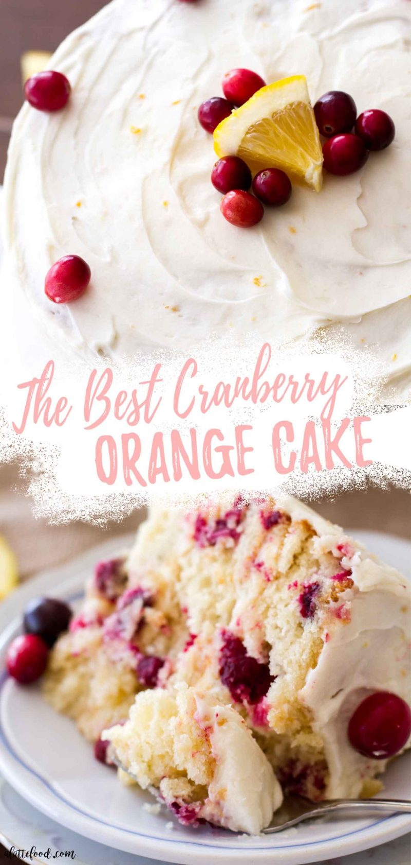 orange cream cheese frosted cranberry orange cake collage