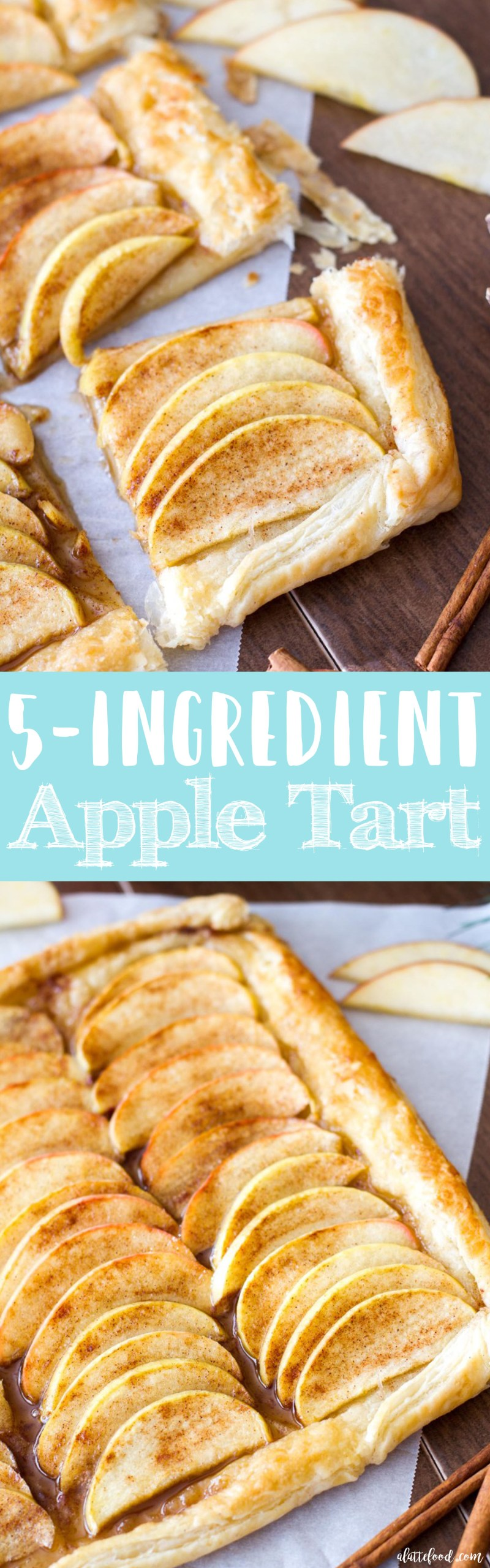 This easy apple tart recipe is made with only 5-ingredients! It's breakfast, dessert, and a snack all rolled into one recipe. I KNOW.  apple pie, apple tart, puff pastry