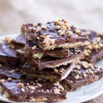 This simple toffee recipe is so easy you'll want to make this all year long!  Only 5-ingredients stand between you and this tasty toffee recipe! | www.alattefood.com