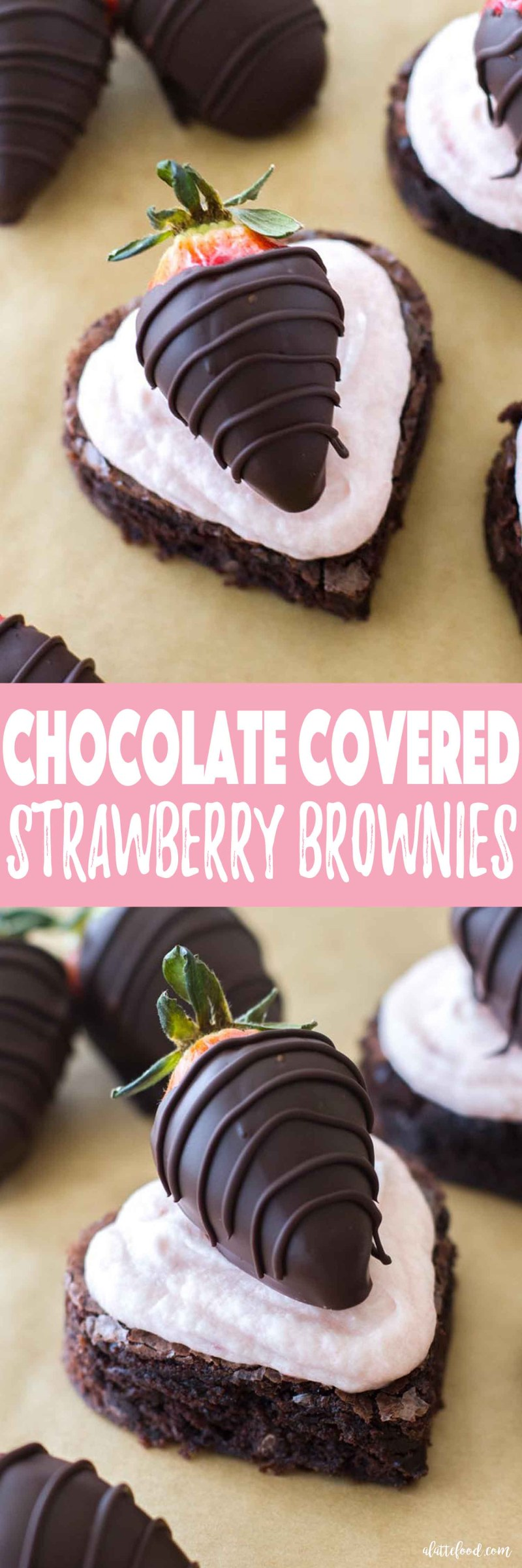These homemade fudge brownies are topped with homemade strawberry buttercream and chocolate dipped strawberries. It's completely over-the-top and totally worth it. The sweetest Valentine's Day dessert!