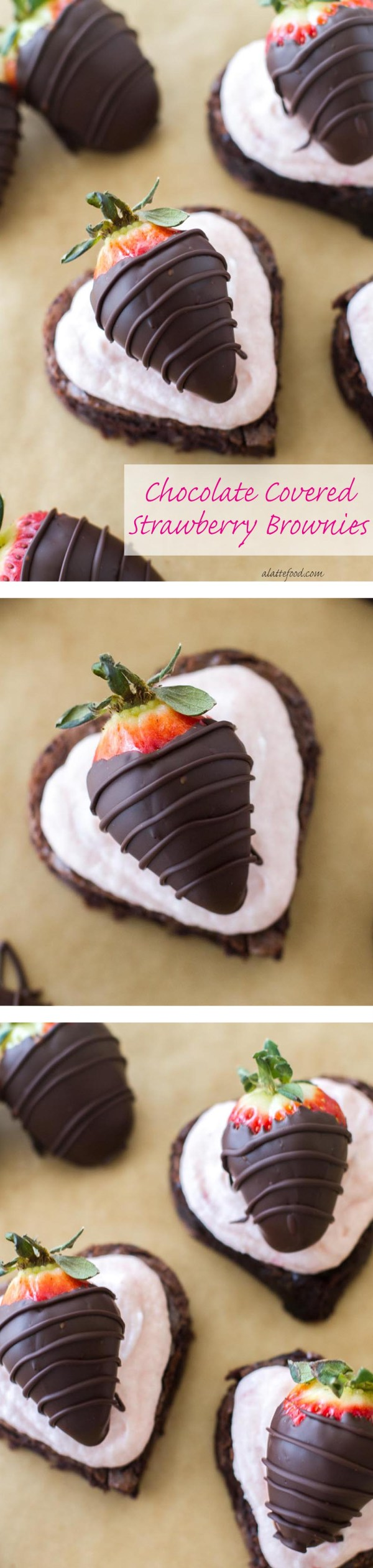 These fudgy brownies are topped with homemade strawberry buttercream and chocolate dipped strawberries. | www.alattefood.com