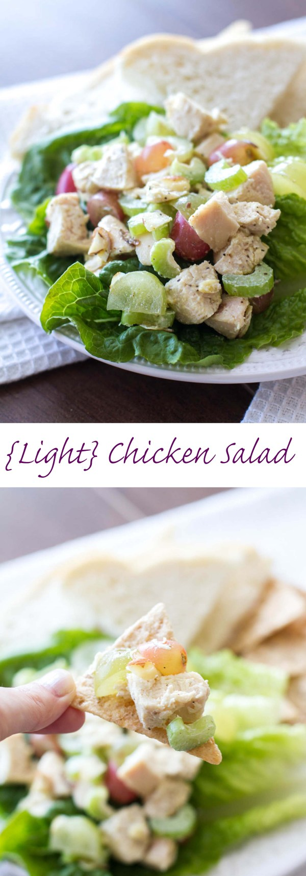 Light and Healthy Chicken Salad Recipe ~ This quick and easy chicken salad recipe is low-calorie, can be made ahead of time, and perfect on a sandwich or as an appetizer!
