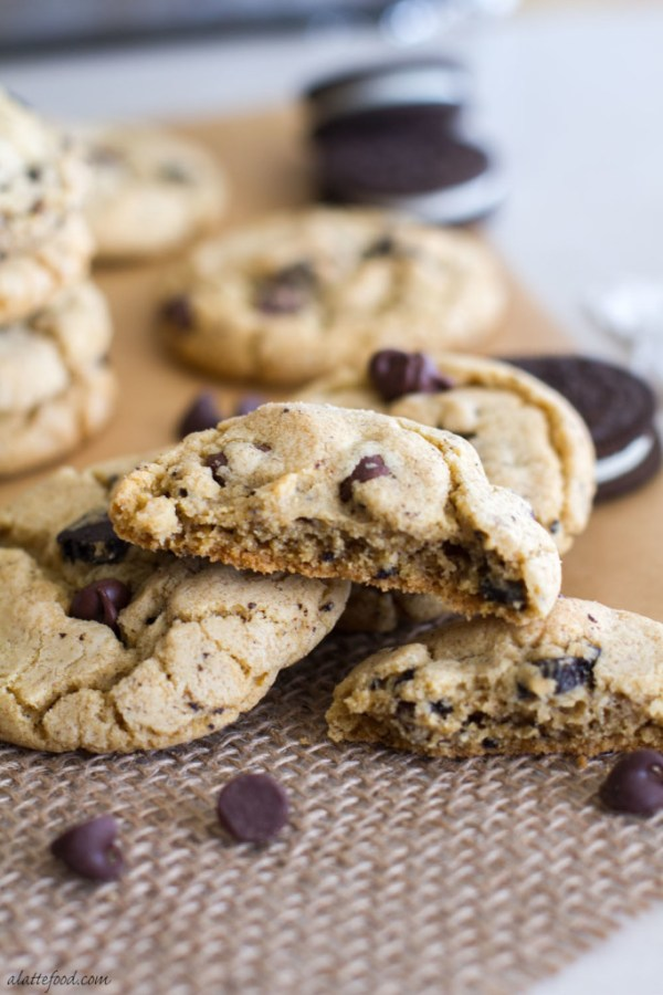 The classic chocolate chip cookie recipe gets kicked up a notch with the addition of crushed Oreos and vanilla pudding to make a thick, chewy, and perfectly sweet cookies and cream cookie!