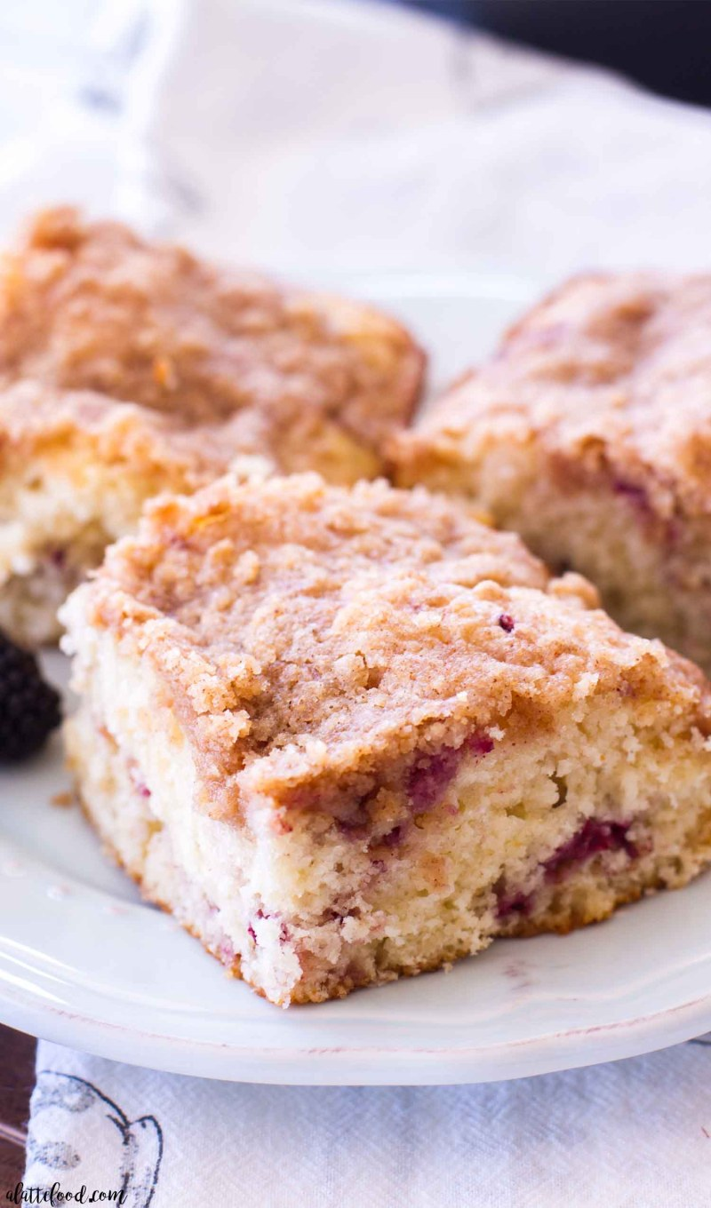 This Blackberry Swirl Coffee Cake Recipe is a simple yet elegant addition to any breakfast, brunch, or afternoon coffee break! This is my favorite homemade coffee cake recipe, and the addition of blackberries takes it over the top! This blackberry coffee cake recipe is light, fluffy, filled with a blackberry puree, and topped with a sweet brown sugar topping!