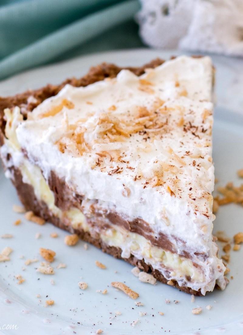 { No-Bake } Chocolate Coconut Cream Pie