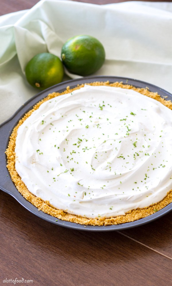 This no-bake frozen yogurt pie is made with lighter ingredients to give it a fresh, light taste, making it a perfect summer dessert!
