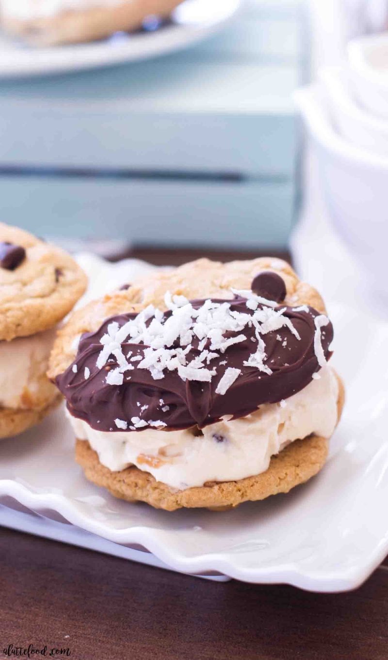 These Mocha Coconut Ice Cream Cookie Sandwiches are a coconut lovers dream.