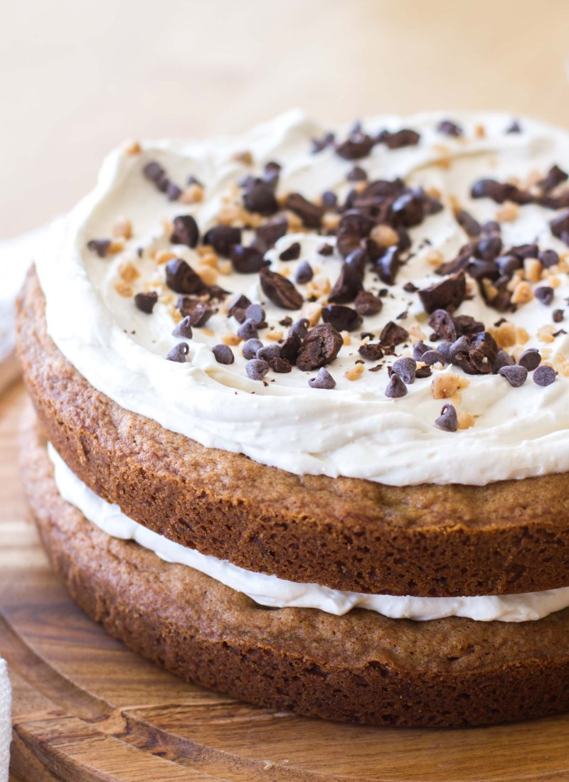 Chocolate Chip Cookie Cake with Coffee Cream Frosting