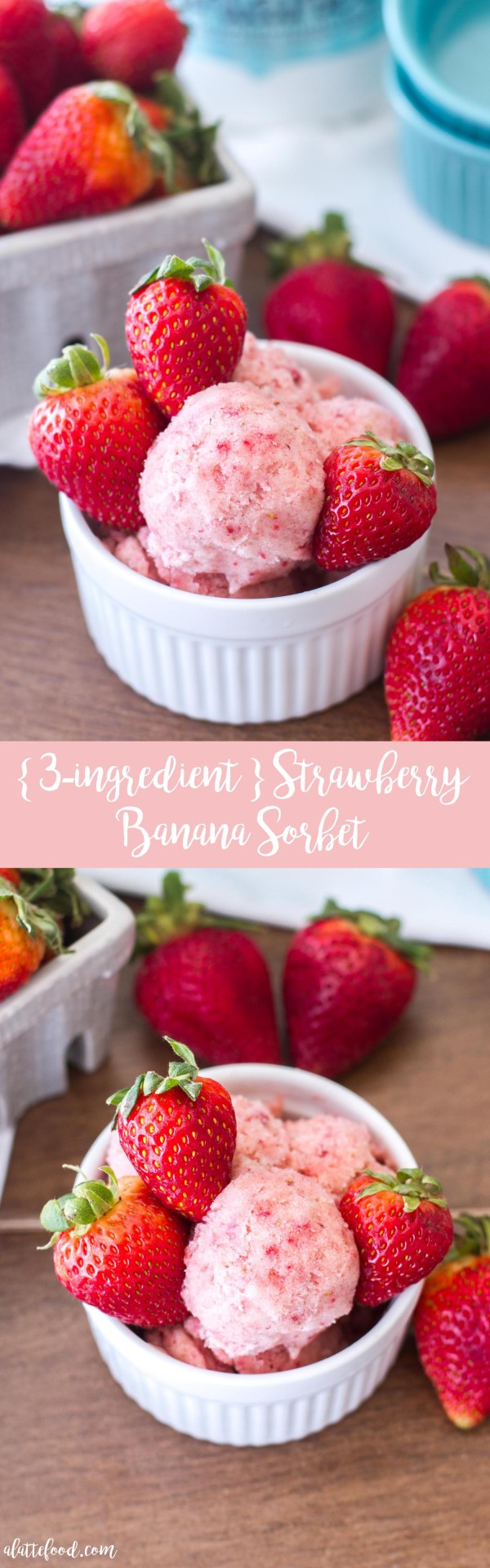 This easy sorbet recipe is made with only 3-ingredients: frozen bananas, frozen strawberries, and coconut milk! All that stands between you and this healthy sorbet recipe is a food processor!