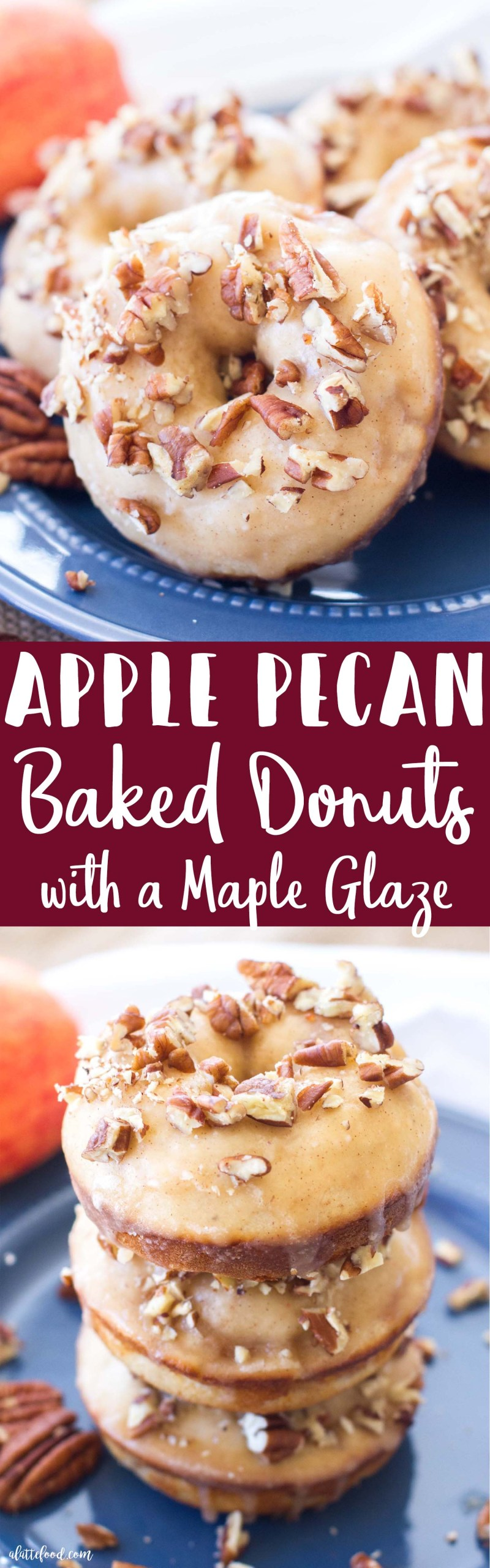 These simple baked apple donuts are filled with sweet apples andcinnamon, and topped with a maple glaze and chopped pecans! These homemade donuts taste like warm apple pie with a sweet maple glaze!