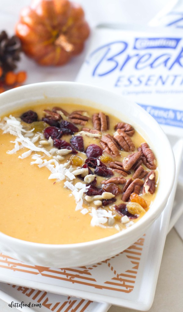 This pumpkin pie smoothie bowl is the perfect fall recipe! Pumpkin puree, pumpkin pie spicealmond milk, bananas, Greek yogurt, and Carnation Breakfast Essentials® Powder are blended together to make a quick breakfast!