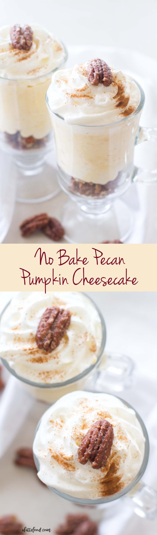 This no bake pecan pumpkin cheesecake is one of the easiest pumpkin recipes! It starts with a salted pecan crust, has a layer of creamy pumpkin cheesecake, and ends with homemade whipped cream!