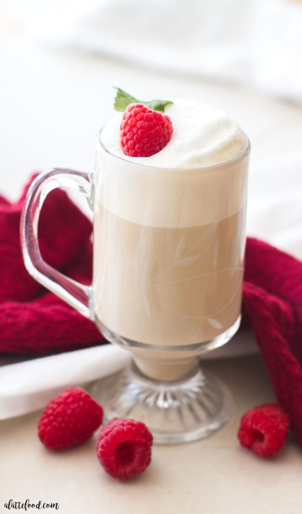 This homemade white chocolate raspberry vanilla latte is made with only 3-ingredients! Your favorite coffee house latte can be made at home in just a few minutes!