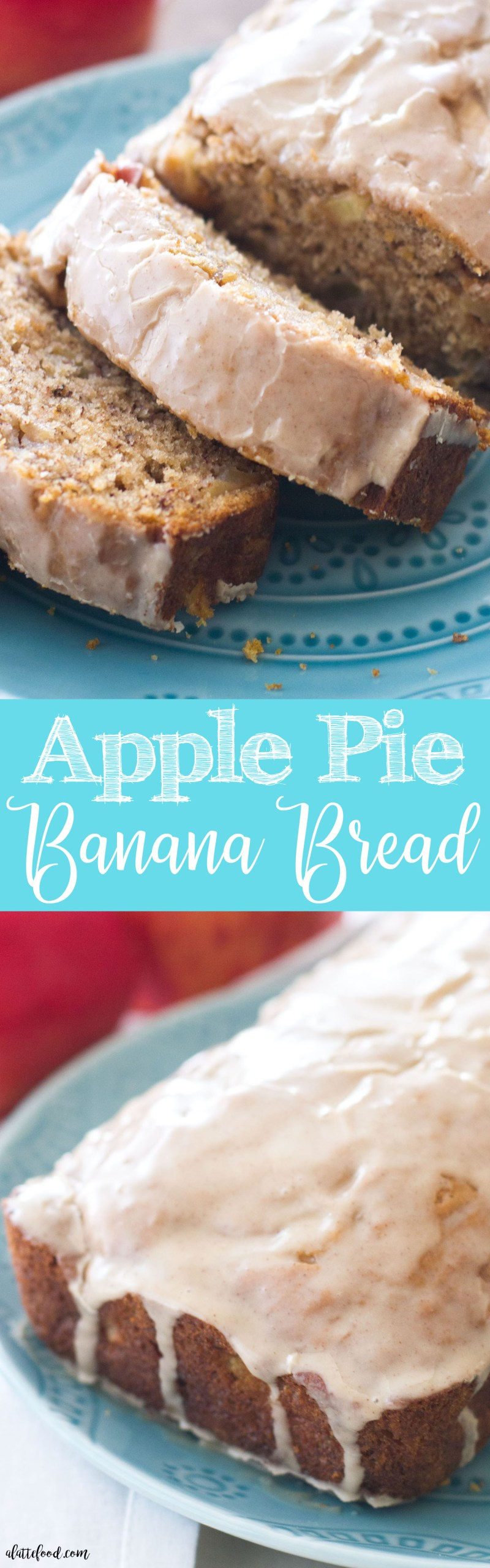 Sweet banana bread meets apple pie and makes the best fall dessert! Topped with a cinnamon vanilla glaze, this apple pie banana bread is pretty delish!