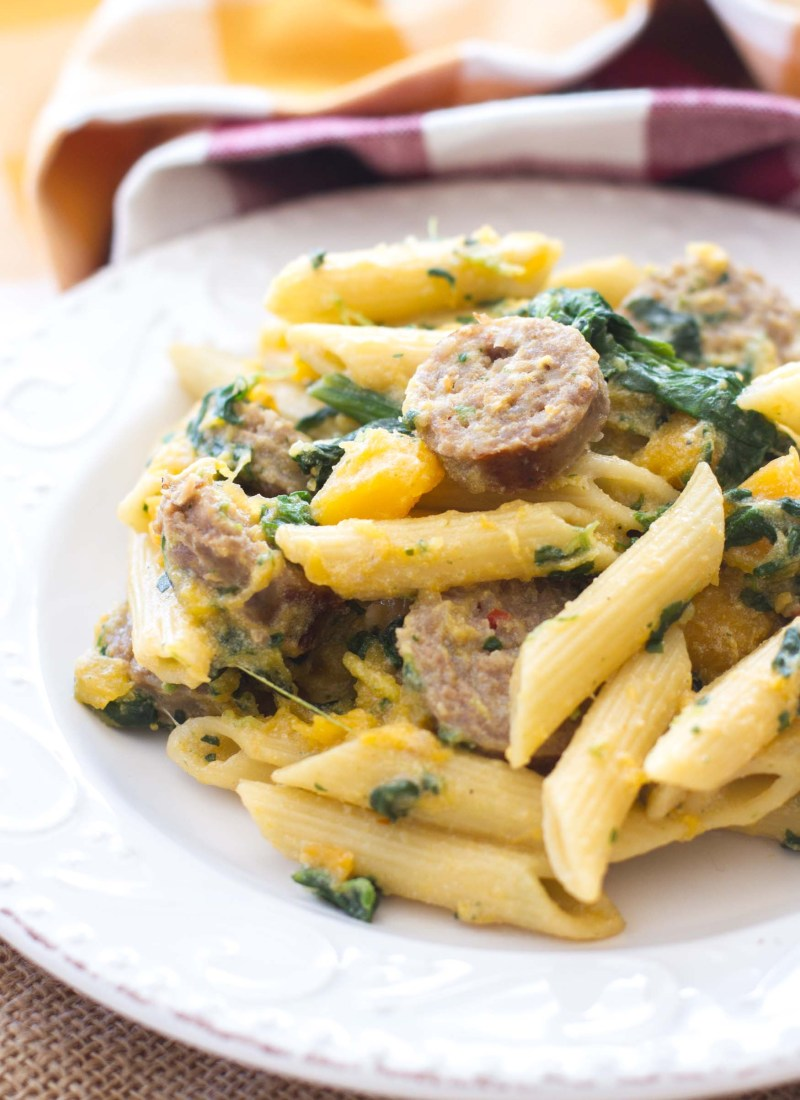 Butternut Squash, Spinach, & Sausage Penne
