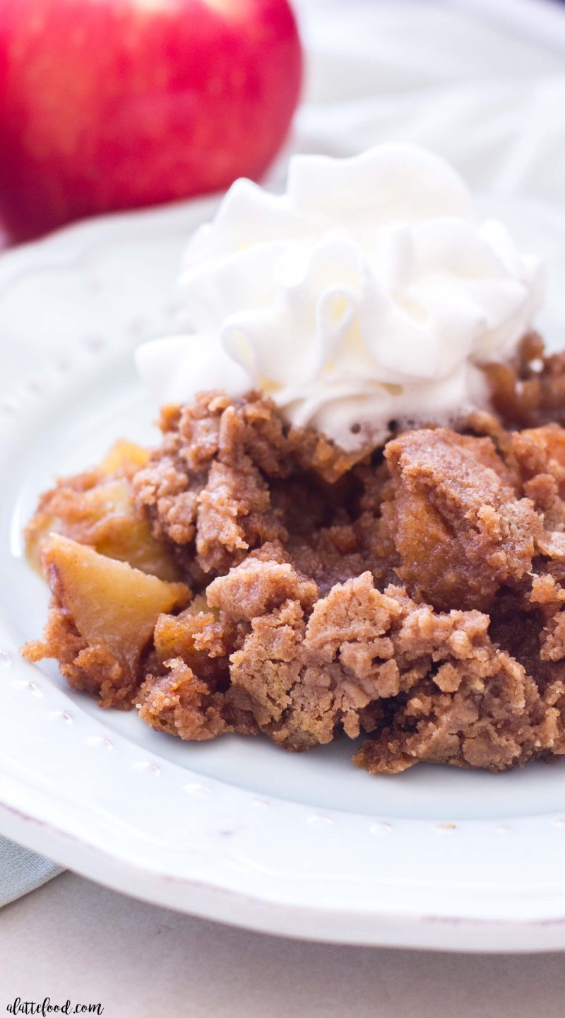 This Slow Cooker Apple Dump Cake recipe is the fall dessert of all fall desserts! This easy apple dump cake recipe begins with spiced cake mix and fresh apples, making this a simple slow cooker dessert you can set and forget! Aaaand a video below!