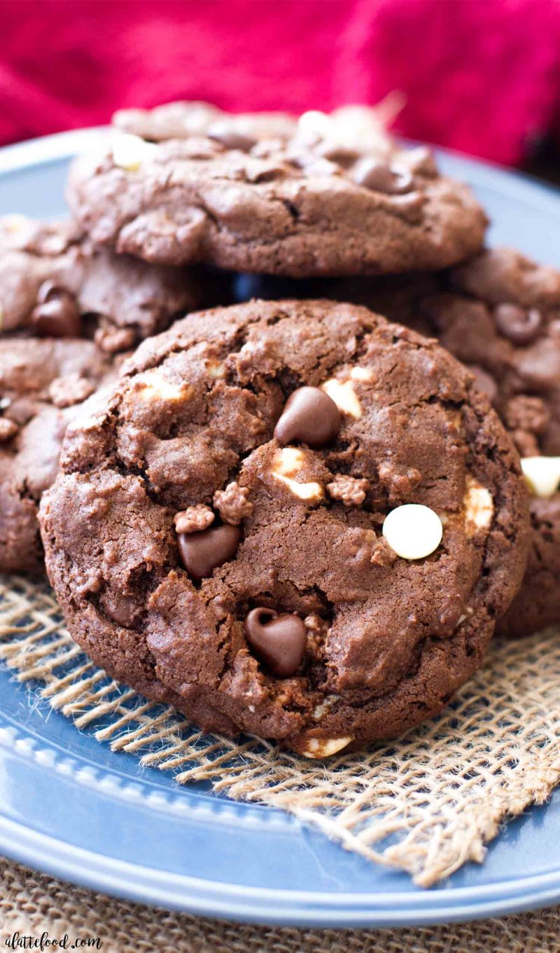 I love how rich and fudgy these Double Chocolate Chip Crunch Cookies are!