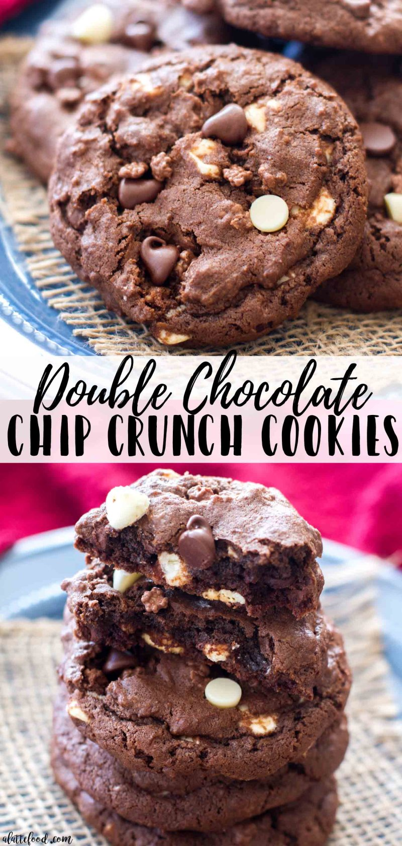 This Double Chocolate Chip Crunch Cookies recipe is rich, fudgy and 100% chocolatey.