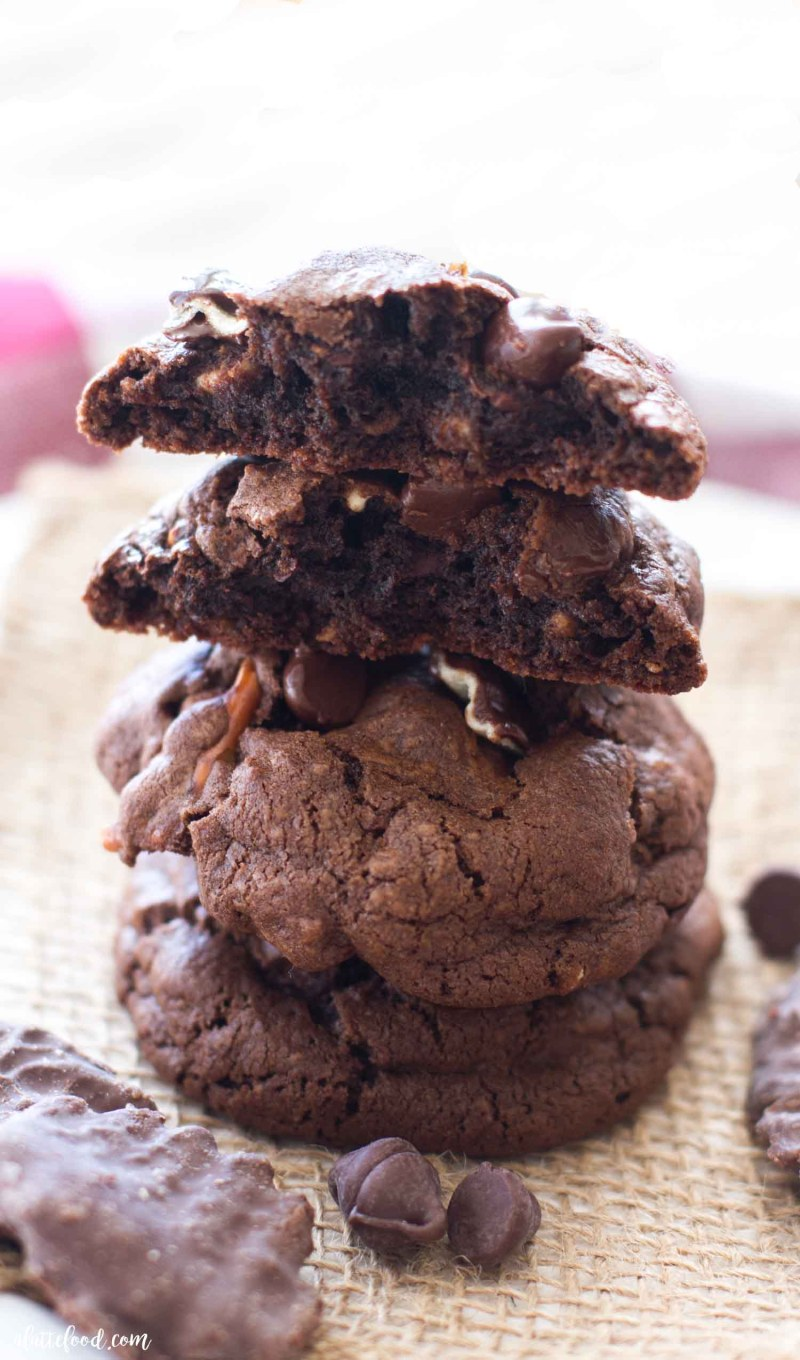 Just look how gooey and rich the inside of this double chocolate chip cookie with potato chips and pretzels is!