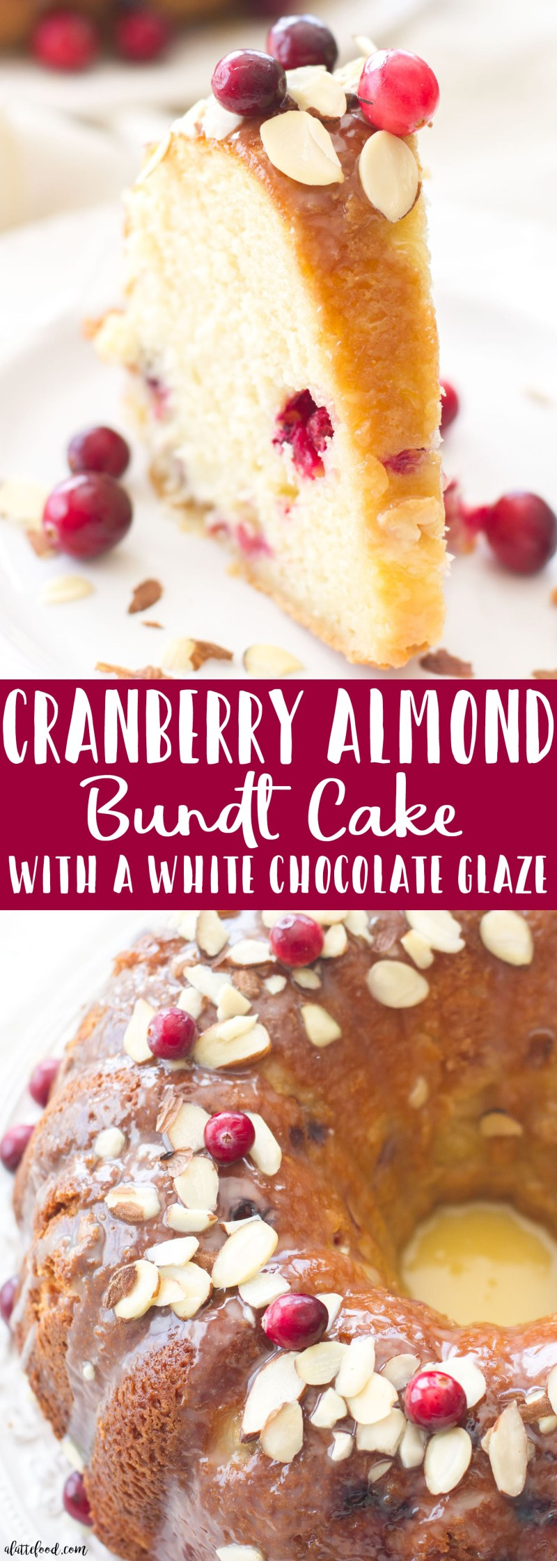 This easy cranberry almond bundt cake is made with fresh cranberries and topped with a white chocolate glaze! The sweet almond flavor pairs perfectly with the tart cranberry flavor. A fantastic Christmas dessert or Thanksgiving recipe!
