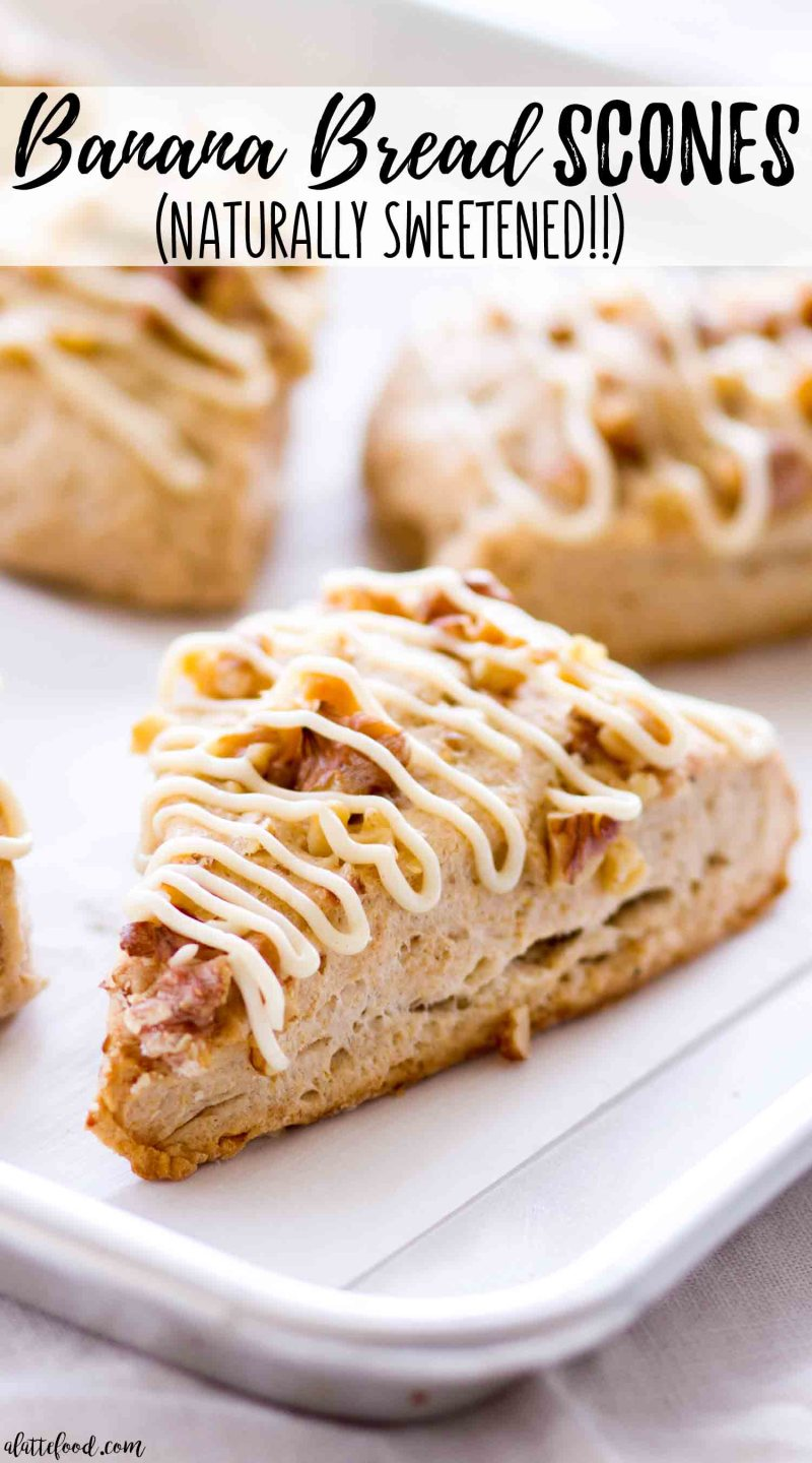 These naturally sweetened Banana Bread Scones are flaky, full of flavor and also topped with a naturally sweetened maple cream cheese frosting! These refined sugar-free scones are sweetened with maple syrup, making this maple banana scone recipe to die for!