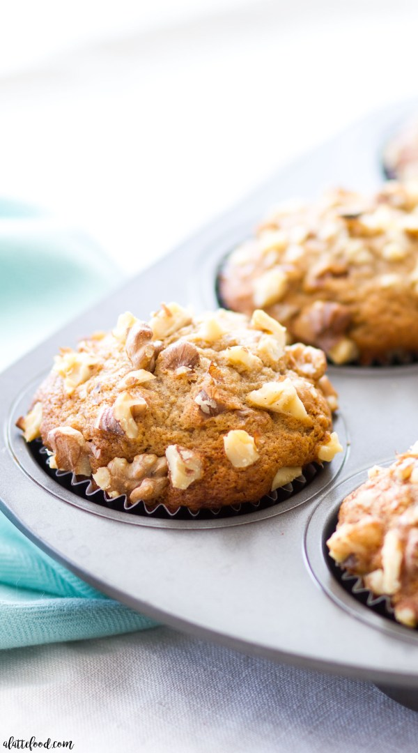 This easy banana nut muffin recipe is light, fluffy, and full of sweet banana flavor! Banana nut muffins are the perfect breakfast, brunch, or snack!