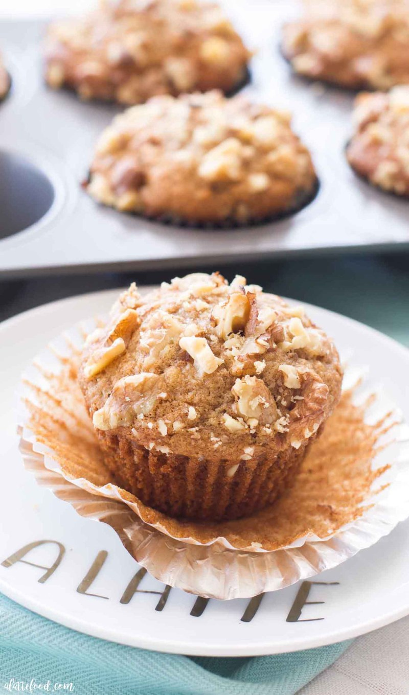 banana nut muffin unwrapped on plate