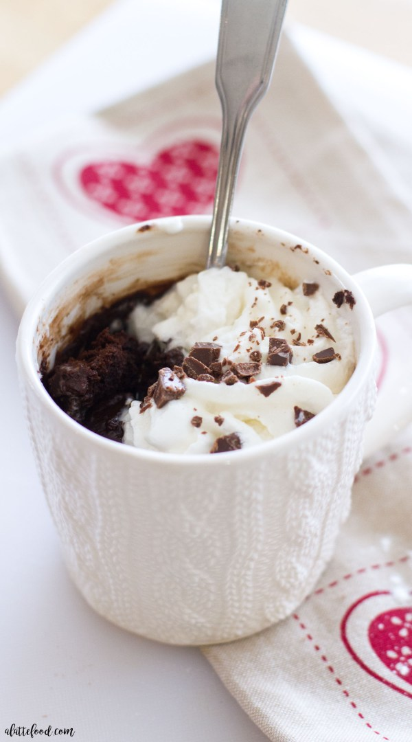 This microwave molten chocolate mug cake is rich, fudgy, and ready in under five minutes! Rich chocolate cake is filled with warm, gooey chocolate truffles. It's the perfect single-serve dessert (easily can be doubled for two!) and is sure to fix any chocolate craving. (Video)