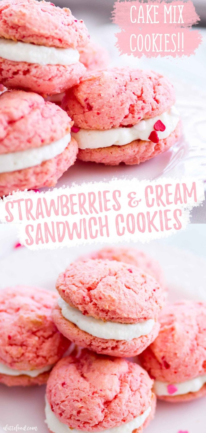 easy strawberry sandwich cookies with cream cheese frosting