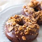 Baked Chocolate Butterfinger Donuts