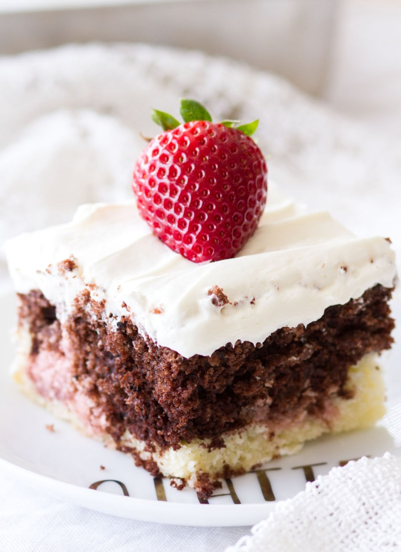 Neapolitan Sheet Cake with Whipped Cream Cheese Frosting