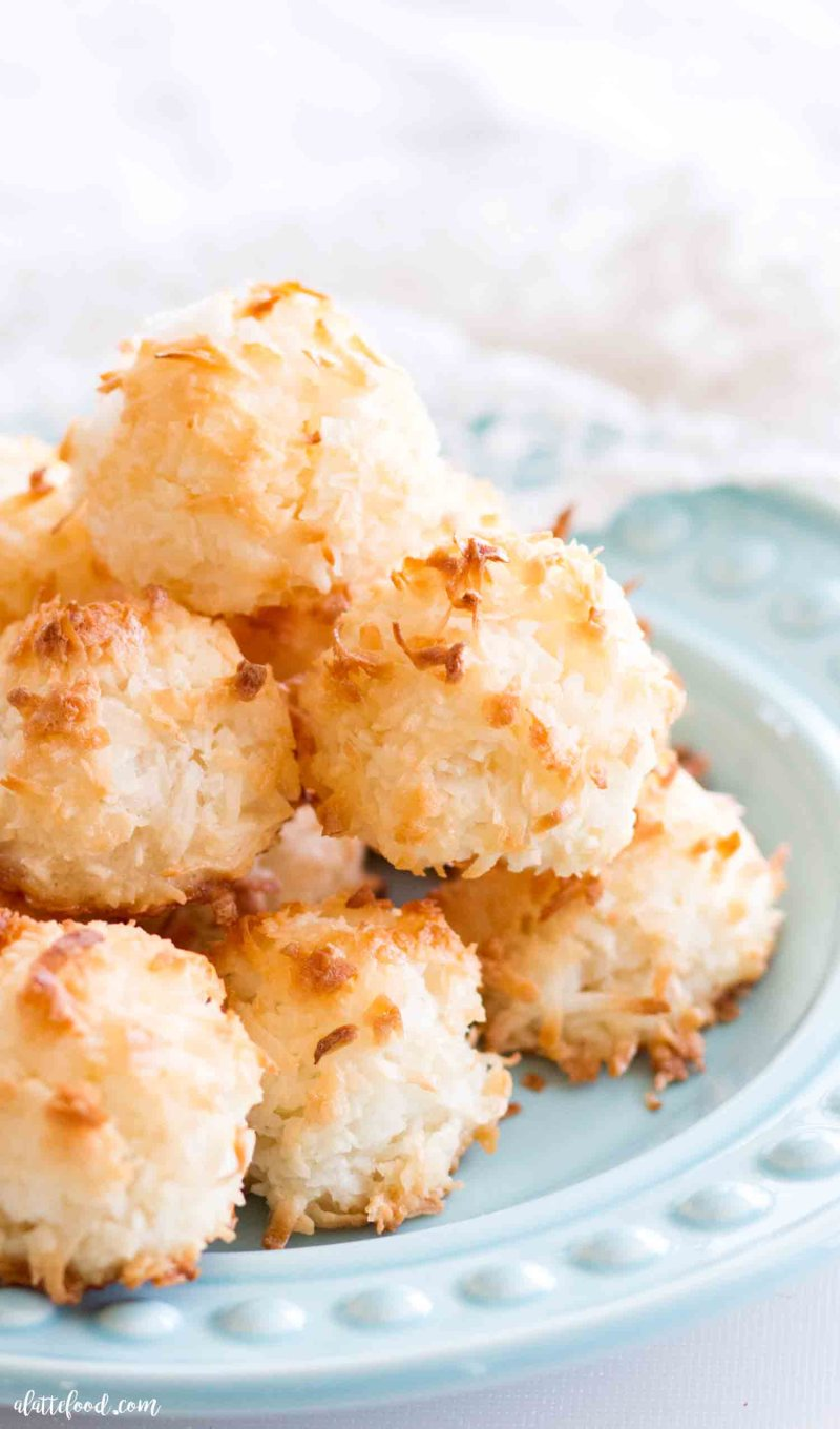 gluten free coconut macaroons stacked on a plate