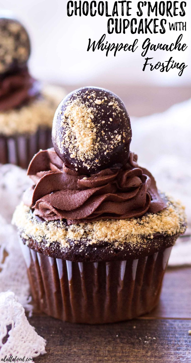 chocolate s'mores cupcakes with text