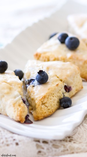 blueberry cream cheese scones on white serving dish