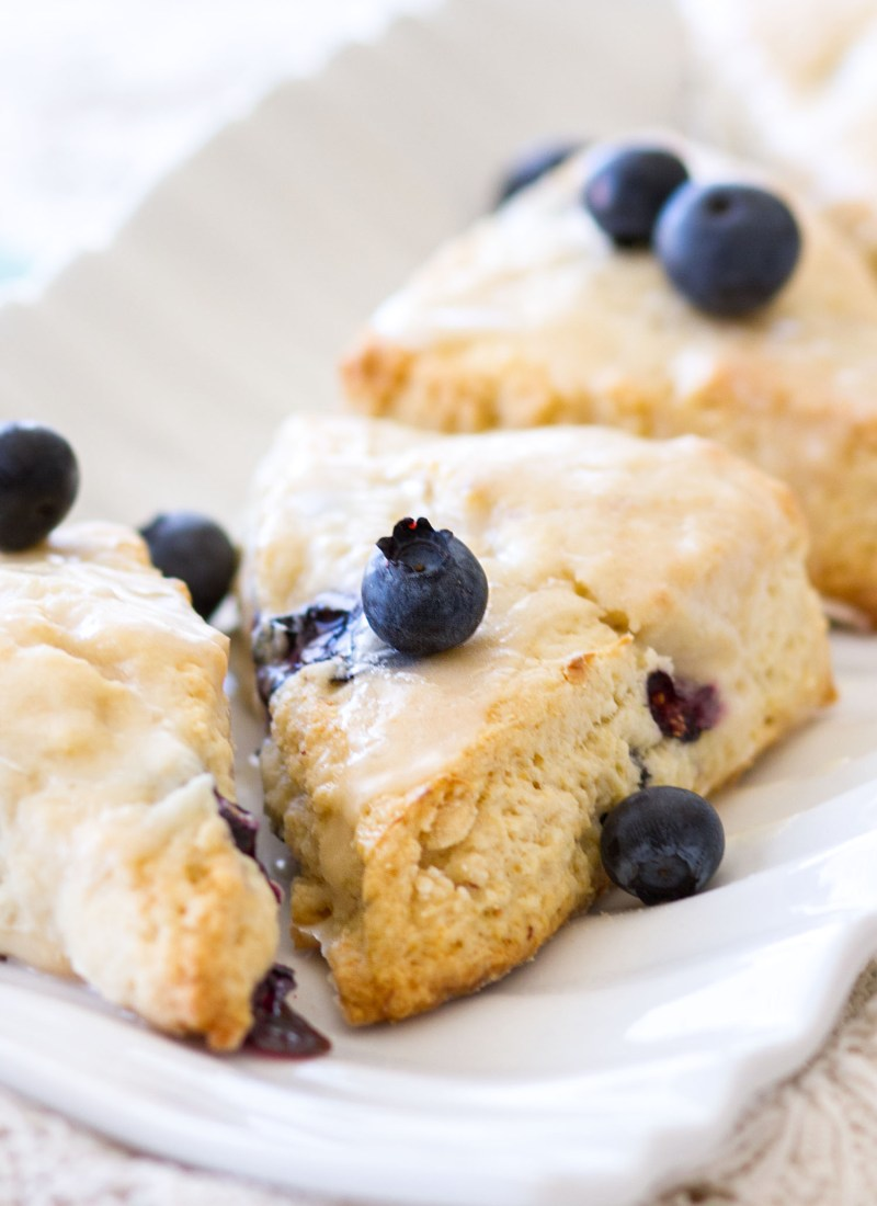 Blueberry Cream Cheese Scones with Vanilla Glaze