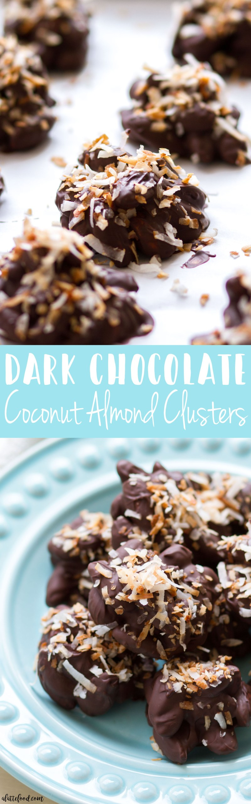 These homemade chocolate almond clusters are made with melted dark chocolate and toasted coconut to make an irresistible quick and easy snack or sweet treat! These Dark Chocolate Coconut Almond Clusters are super simple to make (as you can see in a step-by-step video below), and a total crowd pleaser! coconut, almond clusters, chocolate covered almonds