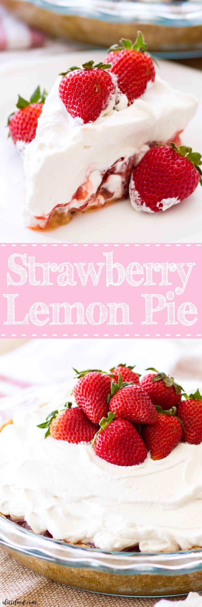 This Strawberry Lemon Pie is made with fresh strawberries, lemon curd, and a sweet graham cracker crust! This strawberry pie is super simple to make, sweet and tangy, and the perfect summer dessert! Plus, it's topped with a homemade whipped cream that's to die for!