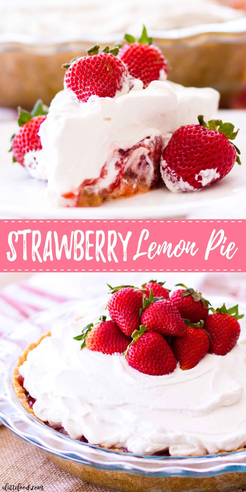This Strawberry Lemon Pie is made with fresh strawberries, lemon curd, and a sweet homemade graham cracker crust!This strawberry pie recipe is super simple to make, sweet and tangy, and the perfect summer dessert! Plus, it's topped with a homemade whipped cream that's to die for! easy strawberry pie recipe, no bake strawberry pie recipe