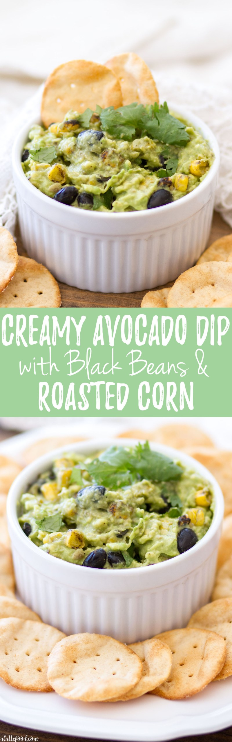 This creamy avocado dip is filled with fresh cilantro, black beans, and roasted corn for a simple dip recipe perfect for an easy appetizer or quick and easy snack!