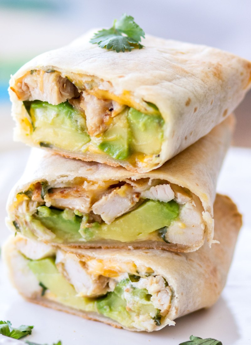 Baked Avocado Chicken Burritos