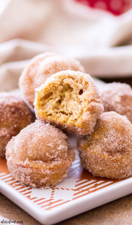 inside of cinnamon sugar pumpkin donut hole