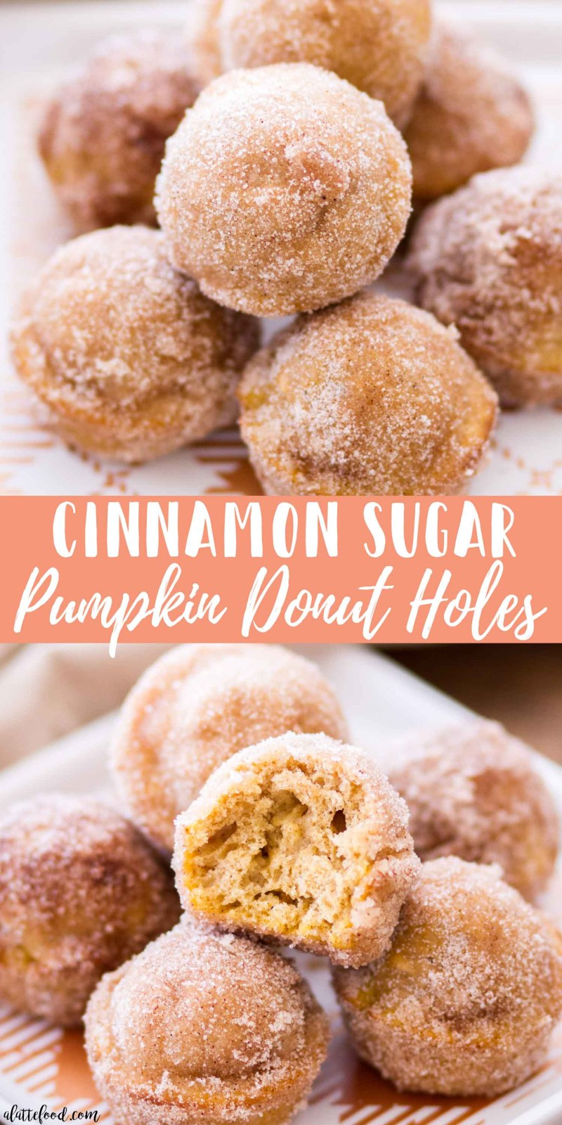 collage photo of cinnamon sugar pumpkin donut holes with text