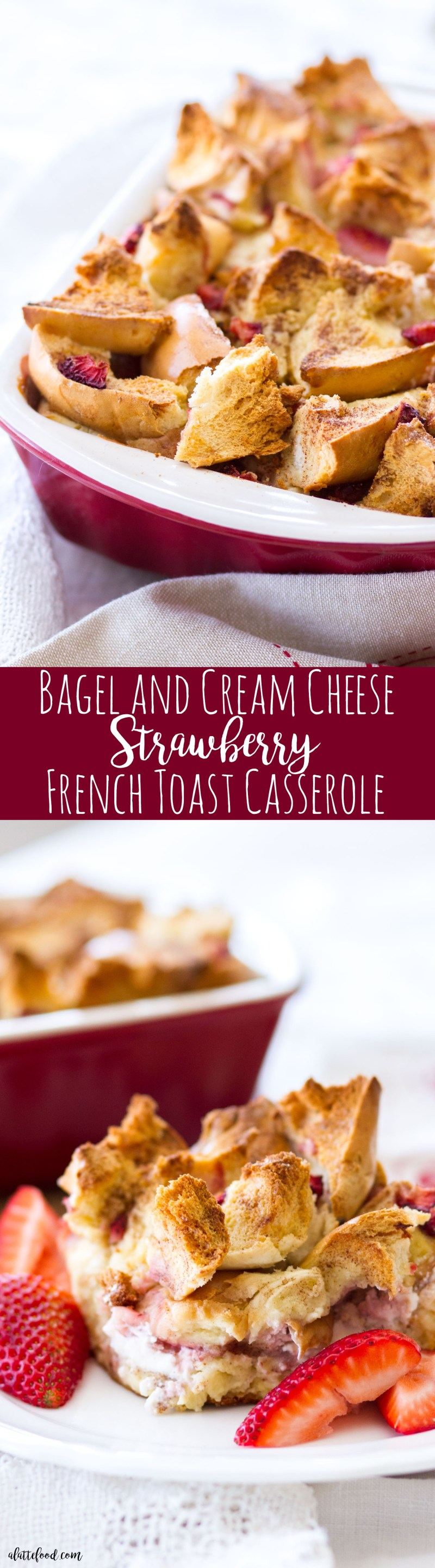 This Bagel and Cream Cheese Strawberry French Toast Casserole is an easy brunch recipe! Eggland's Best eggs, milk, heavy cream, cinnamon, sugar, and vanilla extract are poured over a mixture of bagels, cream cheese, and strawberries, making a quick-and-easy brunch that can be made ahead of time!