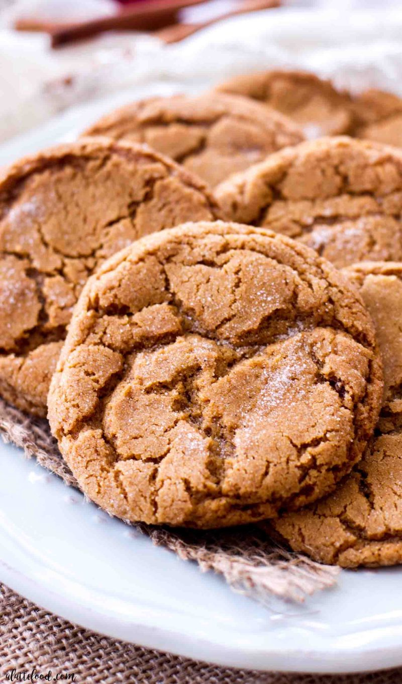 spiced molasses sugar cookies on a plate