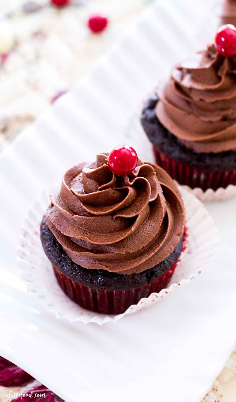 chocolate frosted peppermint mocha cupcakes on white platter