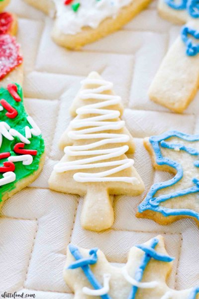 Soft-Baked CutoutSugar Cookies: These soft rollout sugar cookies have Christmas and New Years written all over them! It's the perfect Christmas cookie recipe, if you ask me. These Cutout Sugar Cookies are made with homemade frosting and are such a simple classic christmas cookie recipe.