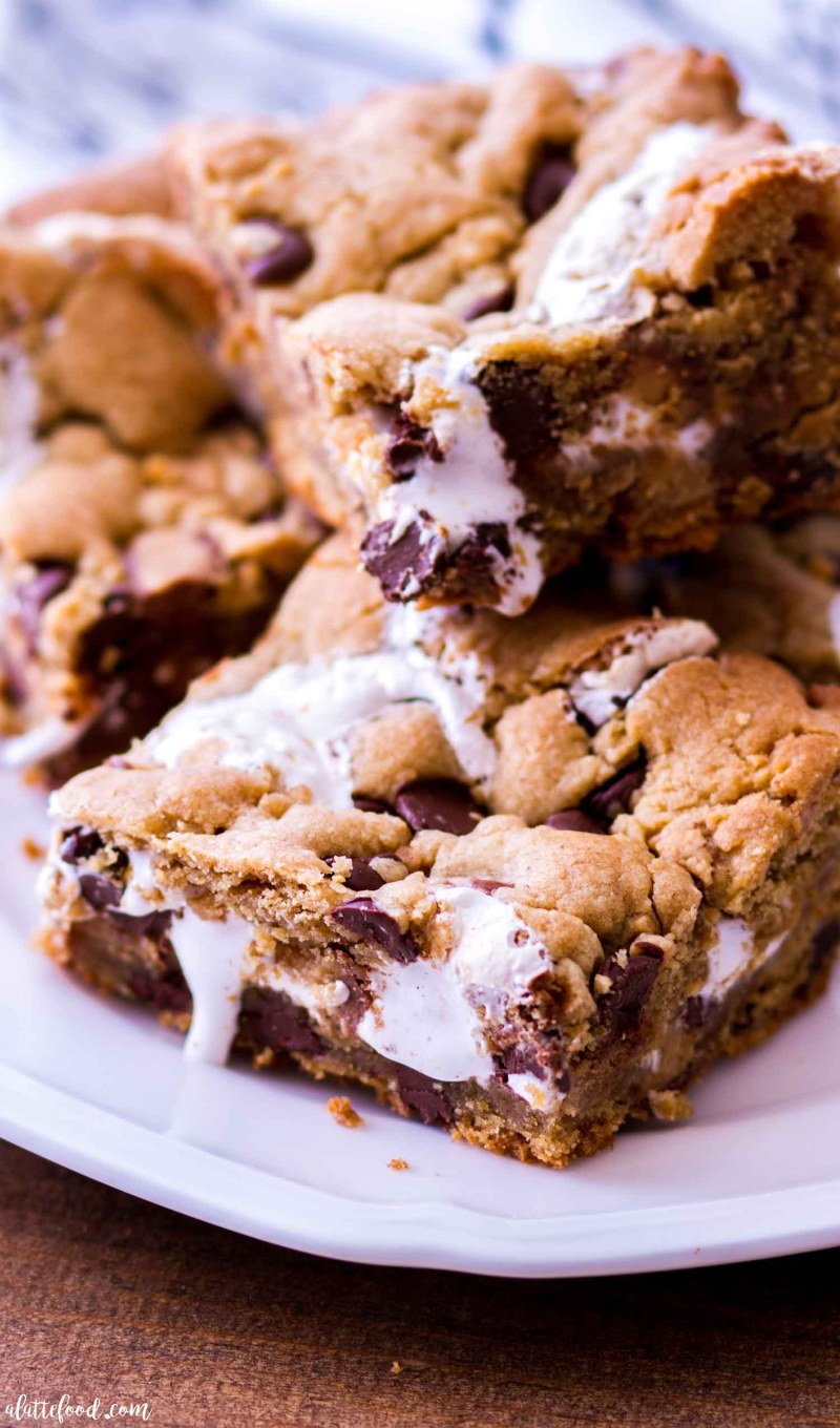 peanut butter chocolate cookie bars with marshmallows