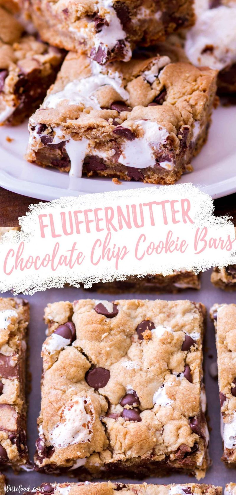 marshmallow stuffed peanut butter chocolate chip cookie bars