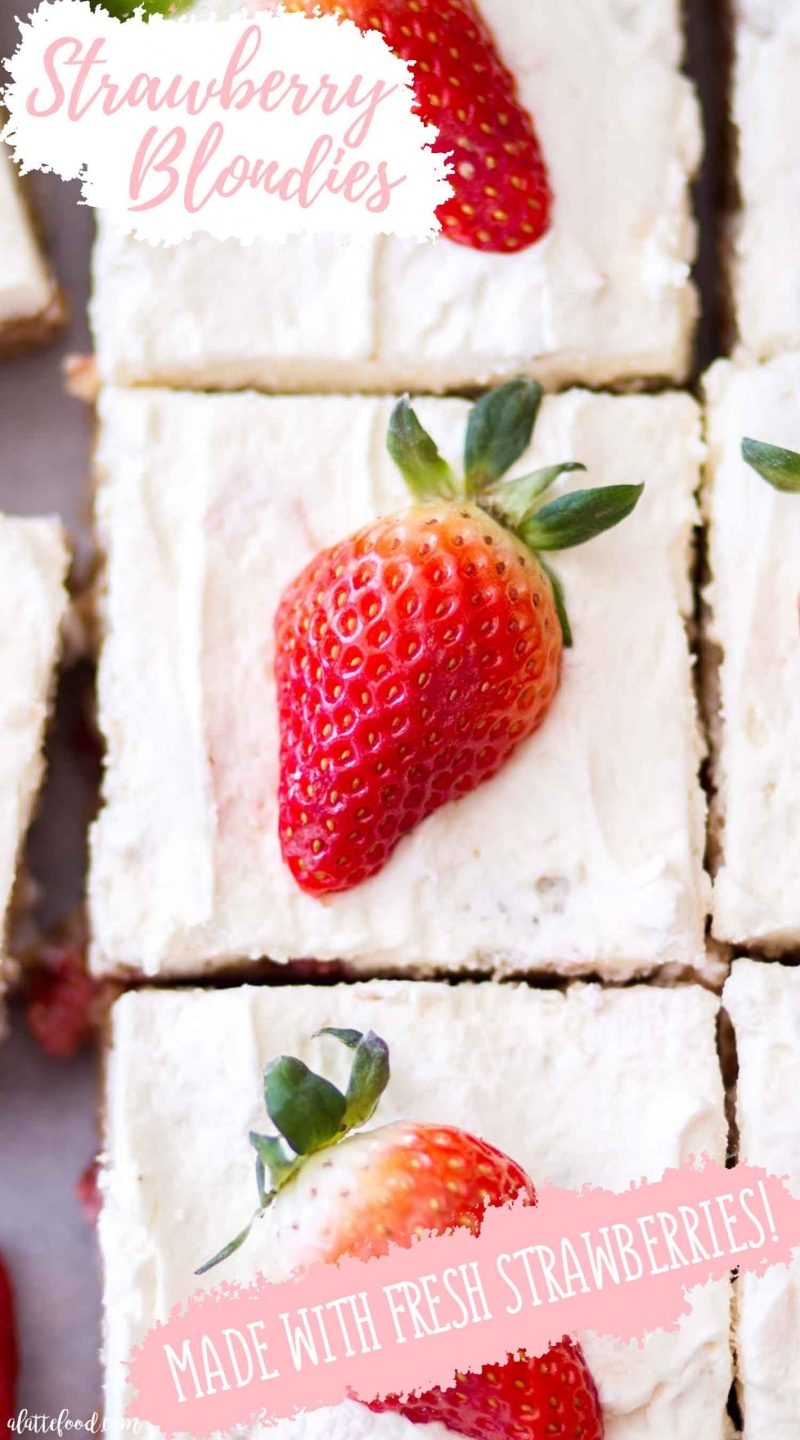 homemade blondies with strawberries