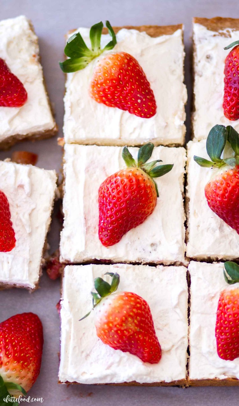 blondies with strawberries cut into squares